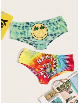 Mixed Print Tie Dye Panty Set 2pack