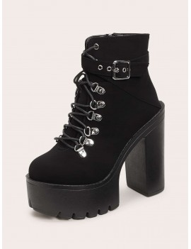 Lug Sole Lace Up Block Heel Hiking Booties
